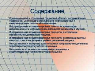Содержание Основные понятия и определения предметной области – информатизация