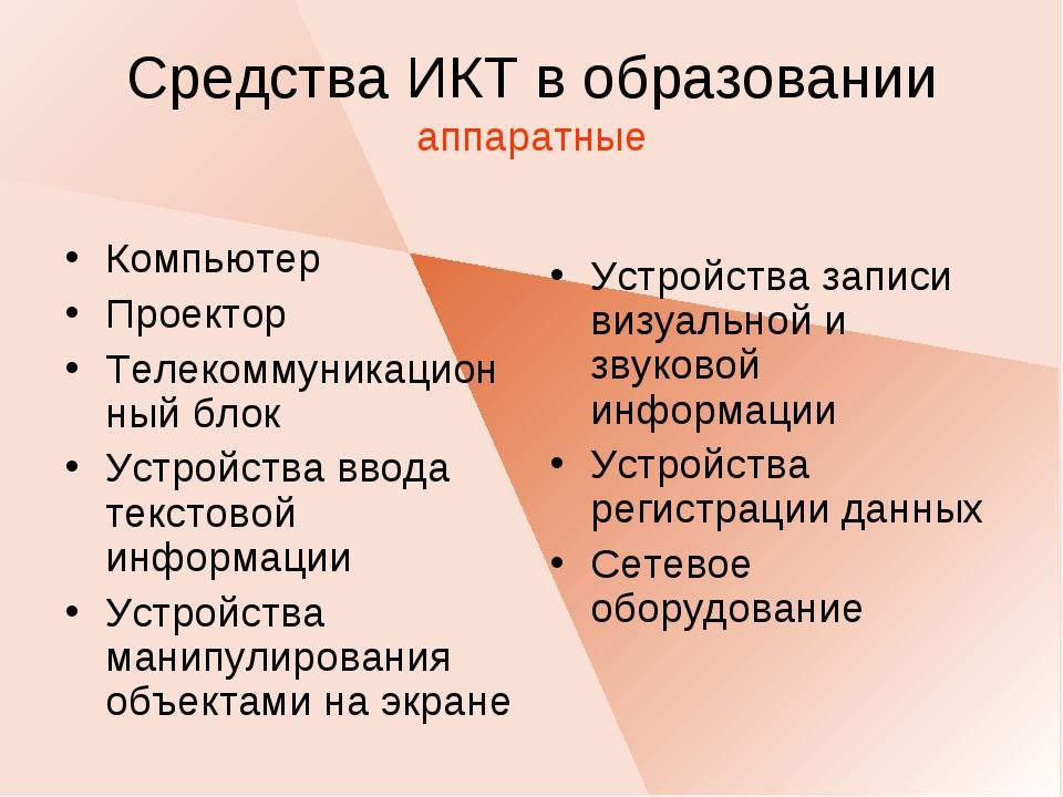 Средства ИКТ в образовании аппаратные Компьютер Проектор Телекоммуникационный...