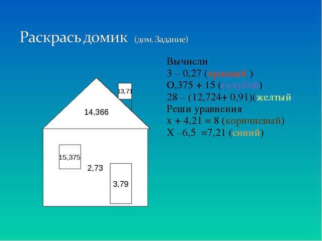 Вычисли 3 – 0,27 (красный ) О,375 + 15 (голубой) 28 – (12,724+ 0,91)(желтый Р...