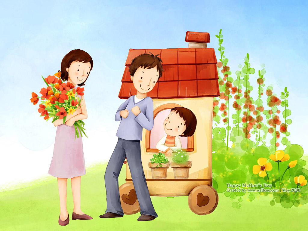 Lovely_illustration_of_Happy_family_with_flowers_wallcoo.com.jpg