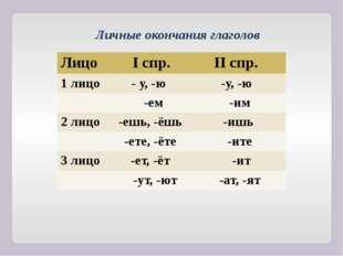 Личные окончания глаголов Лицо Iспр. IIспр. 1 лицо - у, -ю -у, -ю -ем -им 2 л