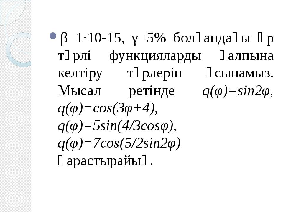 β=1·10-15, γ=5% болғандағы әр түрлі функцияларды қалпына келтіру түрлерін ұсы...