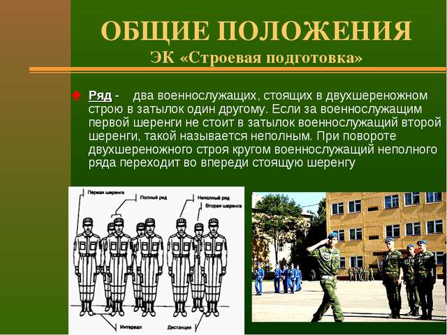 ОБЩИЕ ПОЛОЖЕНИЯ ЭК «Строевая подготовка» Ряд - два военнослужащих, стоящих в...