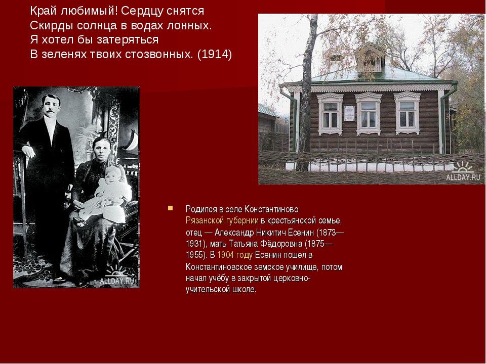 Родился в селе Константиново Рязанской губернии в крестьянской семье, отец—...