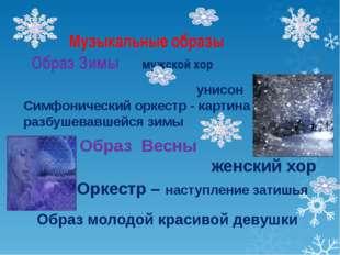 Музыкальные образы Образ Зимы мужской хор унисон Симфонический оркестр - карт