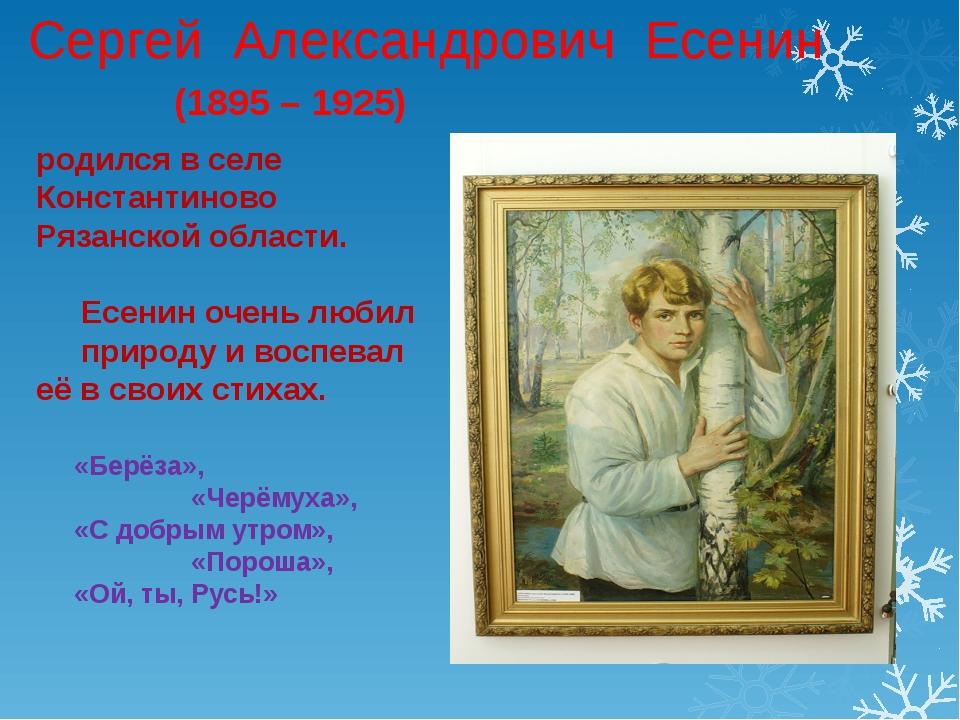 Сергей Александрович Есенин родился в селе Константиново Рязанской области. Е...