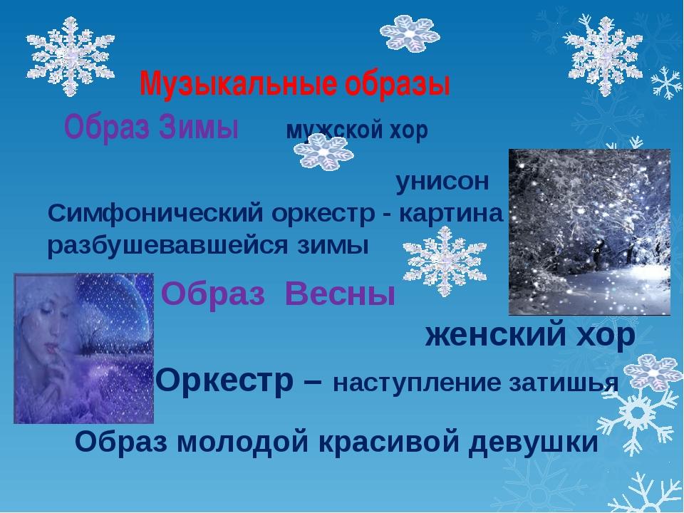 Музыкальные образы Образ Зимы мужской хор унисон Симфонический оркестр - карт...
