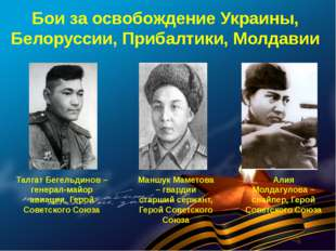 Бои за освобождение Украины, Белоруссии, Прибалтики, Молдавии Талгат Бегельди