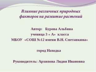 Автор: Бурова Альбина ученица 3 « А» класса МБОУ «СОШ №12 имени В.Н. Сметанк