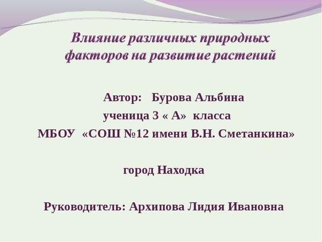 Автор: Бурова Альбина ученица 3 « А» класса МБОУ «СОШ №12 имени В.Н. Сметанк...
