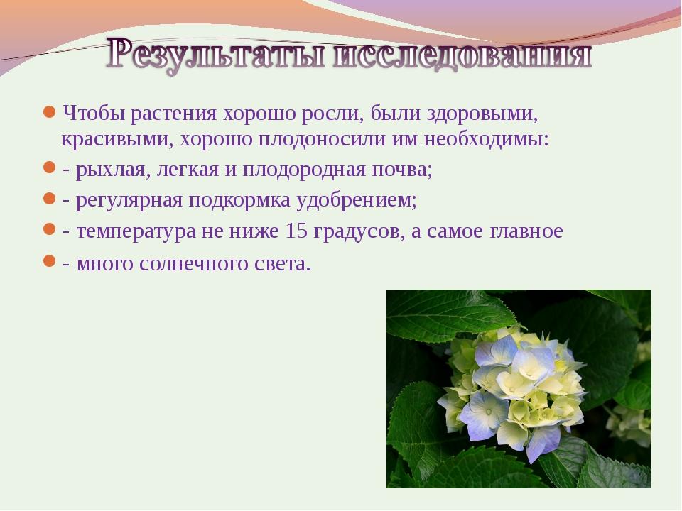 Чтобы растения хорошо росли, были здоровыми, красивыми, хорошо плодоносили им...