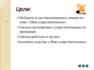 Цели: -Обобщить и систематизировать знания по теме « Имя существительное» -Уч