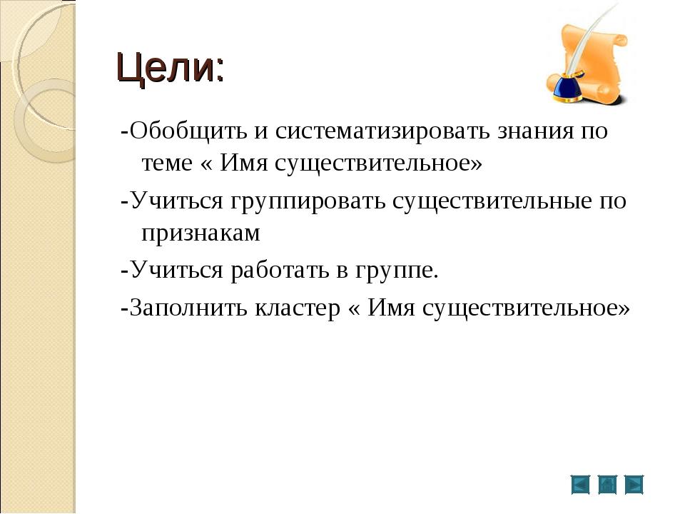 Цели: -Обобщить и систематизировать знания по теме « Имя существительное» -Уч...