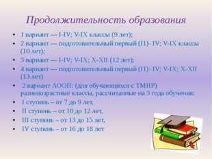 Продолжительность образования 1 вариант ― I-IV; V-IX классы (9 лет); 2 вариан