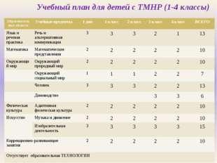 Учебный план для детей с ТМНР (1-4 классы) Образовательные области Учебные пр