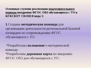 Основные ступени реализации подготовительного периода внедрения ФГОС ОВЗ обуч