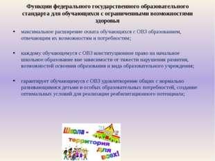Функции федерального государственного образовательного стандарта для обучающи