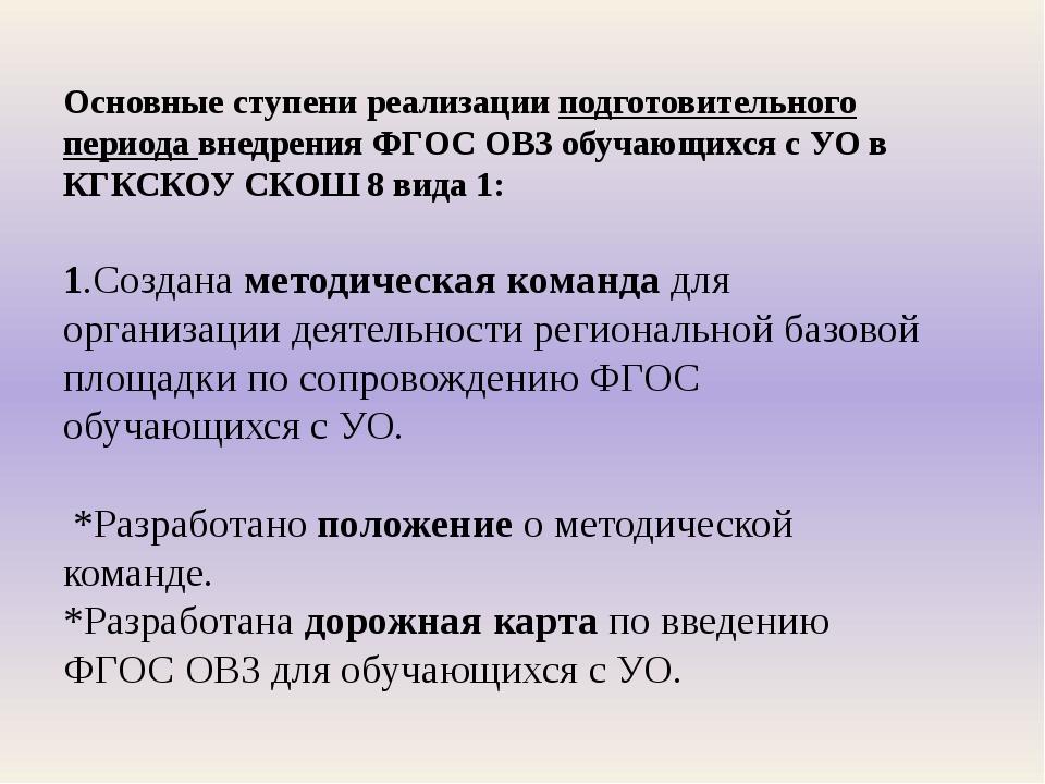Основные ступени реализации подготовительного периода внедрения ФГОС ОВЗ обуч...