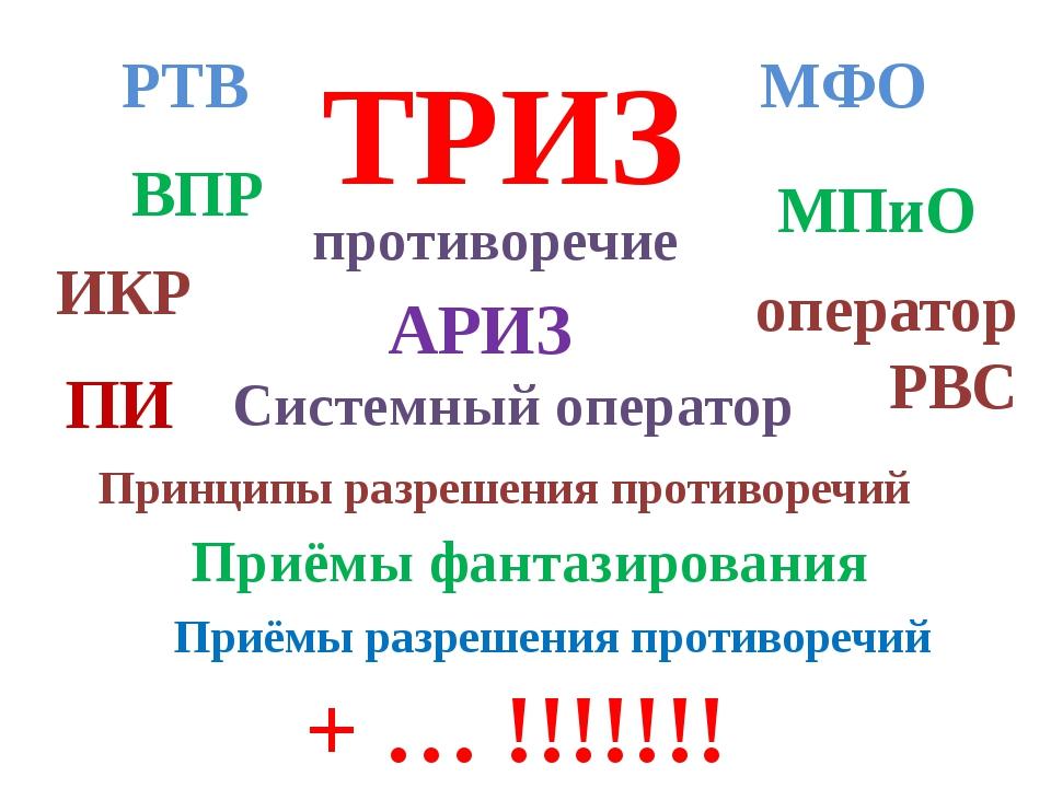 ТРИЗ противоречие ИКР РТВ Принципы разрешения противоречий Приёмы фантазирова...