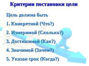 Критерии постановки цели Цель должна быть 1. Конкретной (Что?) 2. Измеримой (
