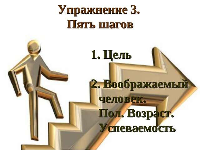 Упражнение 3. Пять шагов Цель Воображаемый человек. Пол. Возраст. Успеваемость