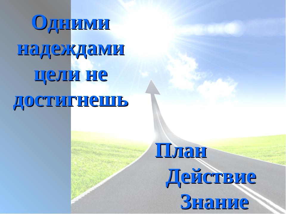 Одними надеждами цели не достигнешь План Действие Знание
