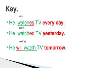 (Vs) He watches TV every day. (Ved) He watched TV yesterday. (will V) He wil