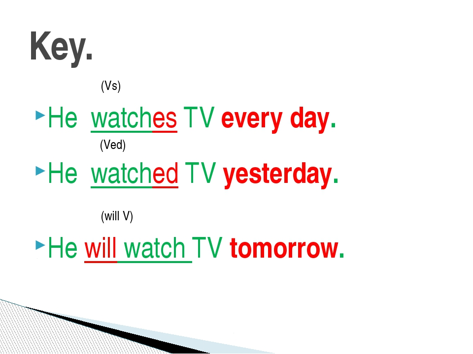 (Vs) He watches TV every day. (Ved) He watched TV yesterday. (will V) He wil...