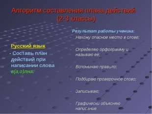 Алгоритм составления плана действий (2-3 классы) Русский язык - Составь план