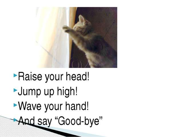 "Raise your head! Jump up high! Wave your hand! And say ""Good-bye"""