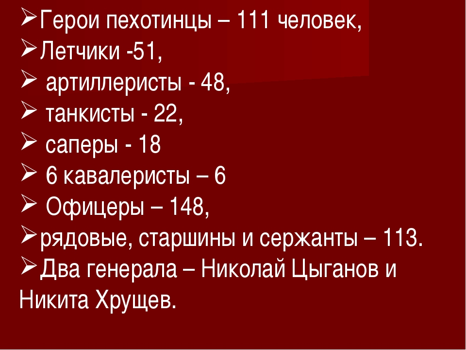 Герои пехотинцы – 111 человек, Летчики -51, артиллеристы - 48, танкисты - 22,...