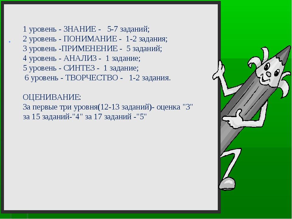 . 1 уровень - ЗНАНИЕ - 5-7 заданий; 2 уровень - ПОНИМАНИЕ - 1-2 задания; 3 у...