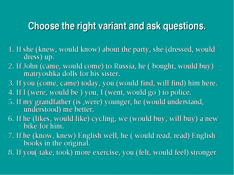 Choose the right variant and ask questions. 1. If she (knew, would know) abou...