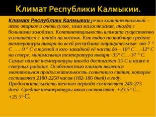 Климат Республики Калмыкии резко континентальный – лето жаркое и очень сухое,