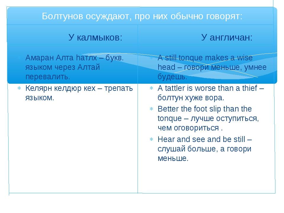 Болтунов осуждают, про них обычно говорят: У калмыков: Амаран Алта hатлх – бу...