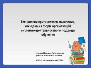 Ильина Надежда Анатольевна, учитель начальных классов,  МБОУ «Алдиаровская