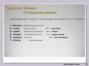 Стратегия «Инсерт» («Условные значки») I – interactive самоактивизирующая N