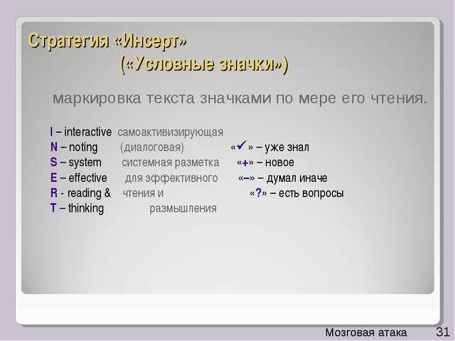 Стратегия «Инсерт» («Условные значки») I – interactive самоактивизирующая N...