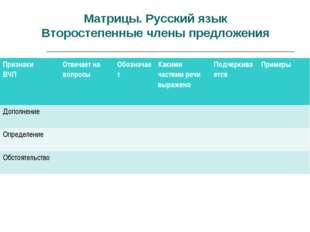 Матрицы. Русский язык Второстепенные члены предложения Признаки ВЧПОтвечает