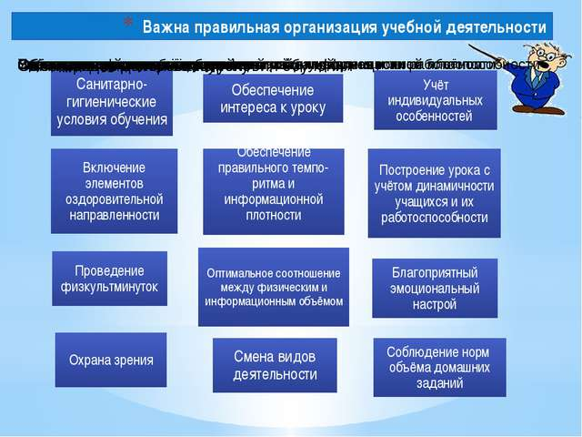Важна правильная организация учебной деятельности