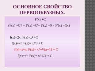 ОСНОВНОЕ СВОЙСТВО ПЕРВООБРАЗНЫХ. F(x) +C (F(x) +C)' = F'(x) +C'= F'(x) +0 = F