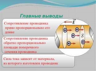 Сила тока зависит от материала, из которого изготовлен проводник Сопротивлени