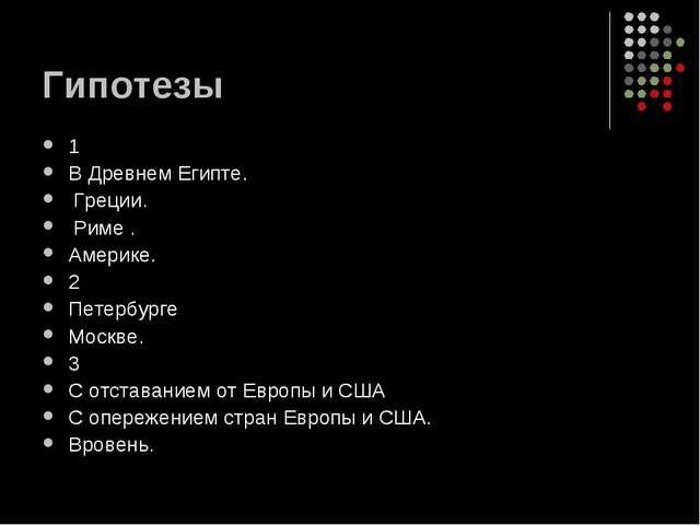 Гипотезы 1 В Древнем Египте. Греции. Риме . Америке. 2 Петербурге Москве. 3 С...