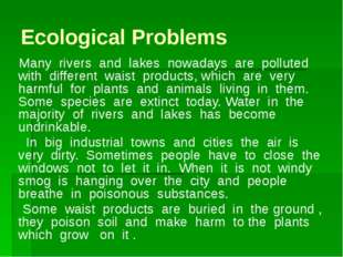 Ecological Problems Many rivers and lakes nowadays are polluted with differen