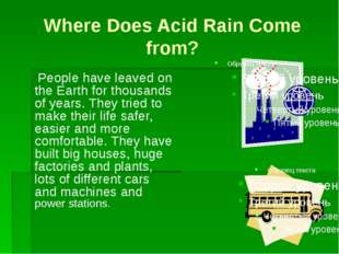 Where Does Acid Rain Come from? People have leaved on the Earth for thousand