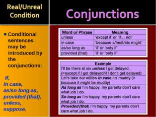 Conditional sentences may be introduced by the conjunctions: if, in case, as/