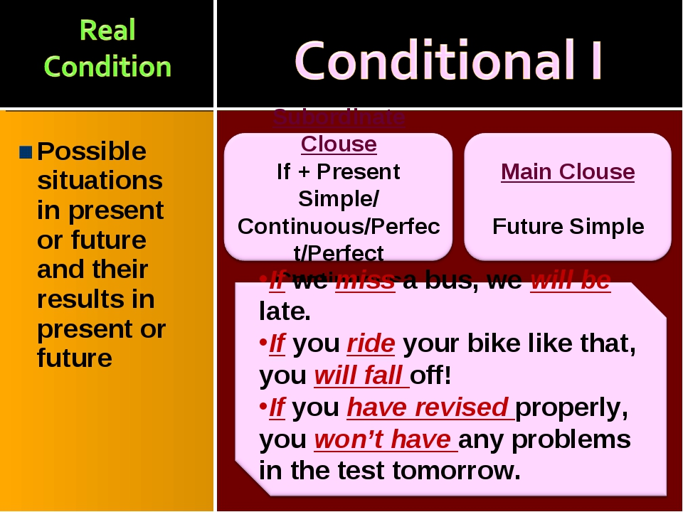 Possible situations in present or future and their results in present or future