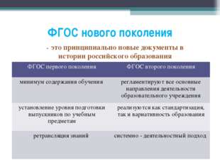 ФГОС нового поколения - это принципиально новые документы в истории российско