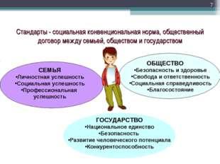 * Стандарты - социальная конвенциональная норма, общественный договор между с