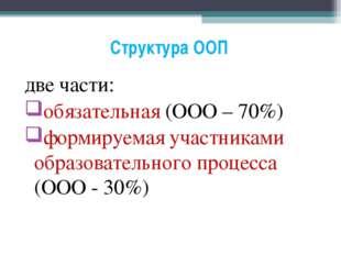 Структура ООП две части: обязательная (ООО – 70%) формируемая участниками обр